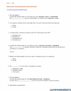 Interactive worksheet Observations and Experiments