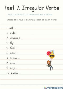 Interactive worksheet Irregular Verb Past Simple Test (7)