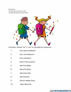 Interactive worksheet He or She?