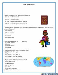 Interactive worksheet Who are tourists?