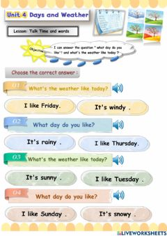 Interactive worksheet Days and weather