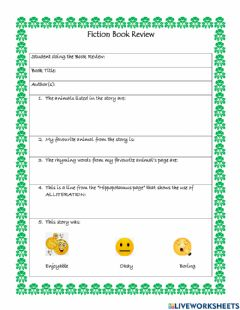 Interactive worksheet Fiction Book Review