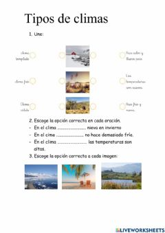 Interactive worksheet Tipos clima