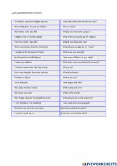 Interactive worksheet Questons and Answers