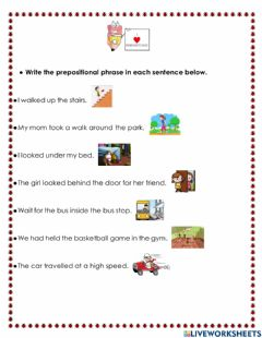 Interactive worksheet Prepositions of Place phrases