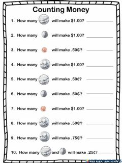 Interactive worksheet Counting Coins