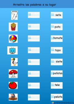 Interactive worksheet Lectura letra t