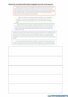 Interactive worksheet Structure essay -healthy  foods-