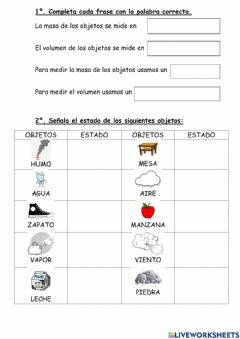 Interactive worksheet La materia 3º