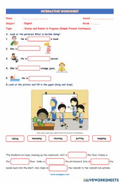 Interactive worksheet LKS Interaktif Bahasa Inggris tentang States and Events in Progress (Simple Present Continuous)
