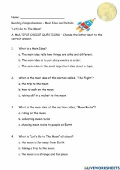 Interactive worksheet Main Idea and Details