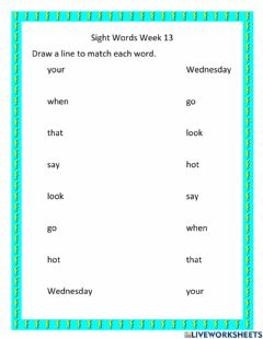 Interactive worksheet Sight Words Week 13