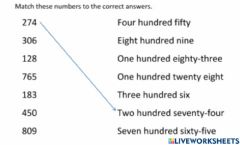 Interactive worksheet Match the numbers