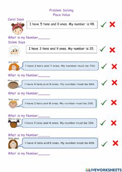 Interactive worksheet Tens and Ones Problem Solving