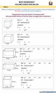 Interactive worksheet Volume Kubus dan Balok