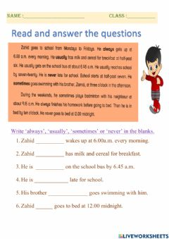 Ficha interactiva Year 4 - adverbs of frequency