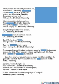 Interactive worksheet Electricity song