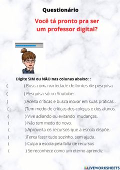 Interactive worksheet Questionário para professores