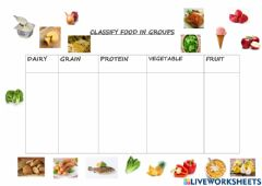 Interactive worksheet Classify food in groups