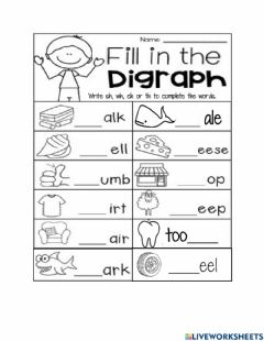 Interactive worksheet Sh, ch, wh, th Worksheet