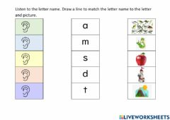 Interactive worksheet Match letter name to letter and picture. (Letters m,s,d,t,a)