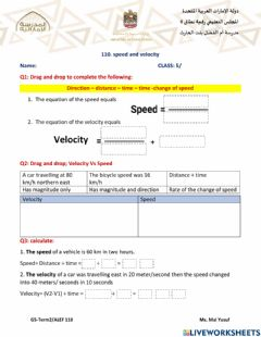 Interactive worksheet Speed and velocity