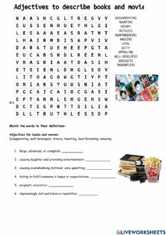 Interactive worksheet Adjectives to describe movies, books, and characters