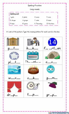 Interactive worksheet Long Vowel a-e