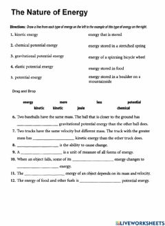Interactive worksheet PS-13-The Nature of Energy