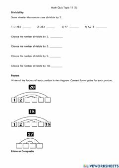 Ficha interactiva Math quiz Topic 11