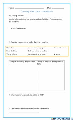 Interactive worksheet Growing in Value, Endurance