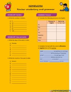 Interactive worksheet Numbers, days. months, pronouns, verb be