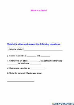 Interactive worksheet What is a fable?