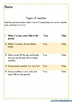 Interactive worksheet Types of weather