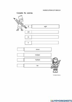 Interactive worksheet Whole number up to 20