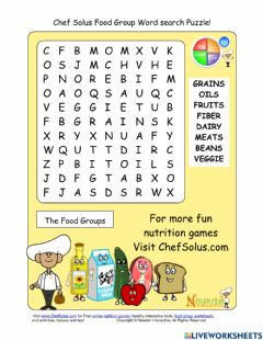 Ficha interactiva Food groups word search puzzle
