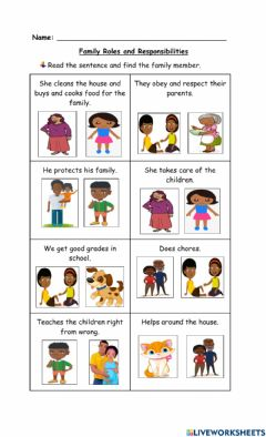 Interactive worksheet Family Roles and Responsibilities