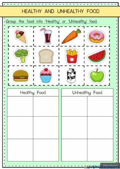 Interactive worksheet Healthy and Unhealthy Food
