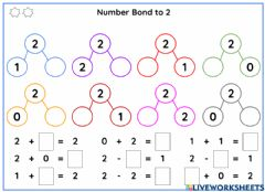 Interactive worksheet Number Bonds to 2