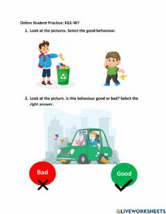 Interactive worksheet Save the Earth Behaviours