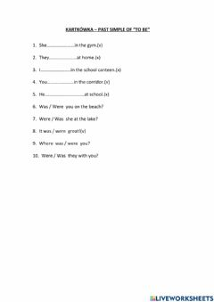 Interactive worksheet Past Simple- to be