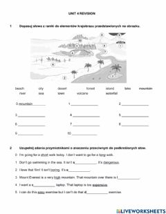 Interactive worksheet English class a1+ unit 4 REVISION