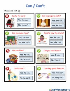 Interactive worksheet Can - Can't Abilities
