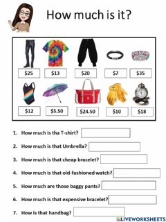Interactive worksheet How much is it?