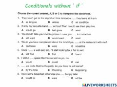Interactive worksheet B2 Grammar Conditionals without if