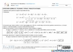 Interactive worksheet Polinomios. Operaciones. Productos notables
