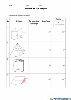 Interactive worksheet Base Area & Volume