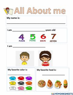 Interactive worksheet All about me. Kinder