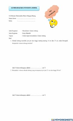 Interactive worksheet Kuis Volume Tabung