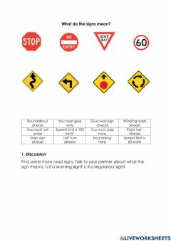 Ficha interactiva What do the road signs mean
